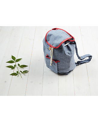 Annaliv Pure Natural Cotton Kids Backpack, Blue/Red – 1+ years! Small Backpacks