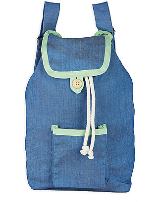 Annaliv Pure Natural Cotton Kids Backpack, Denim & Light Green - 1+ years! Small Backpacks