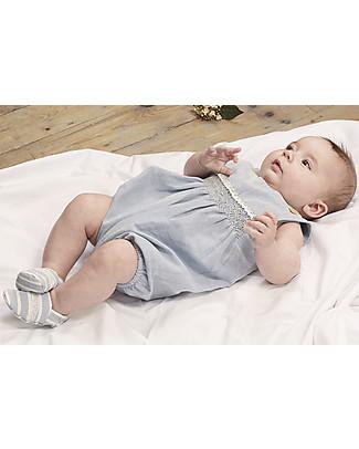 Annaliv Summer Suit, Sleeveless Organic Cotton Romper, Blue/Ecru Lace – Wooden gift box! Short Sleeves Bodies