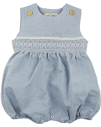 Annaliv Summer Suit, Sleeveless Organic Cotton Romper, Blue + Ecru Lace - Wooden gift box! Short Sleeves Bodies