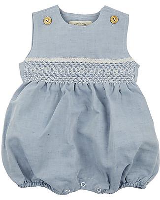 Annaliv Summer Suit, Sleeveless Organic Cotton Romper, Blue + Ecru Lace - Wooden gift box! Short Sleeves Bodies