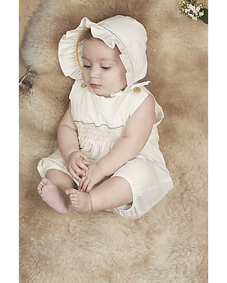 Annaliv Summer Suit, Sleeveless Organic Cotton Romper, White – Wooden gift box! Short Sleeves Bodies