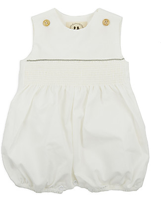 Annaliv Summer Suit, Sleeveless Organic Cotton Romper, White - Wooden gift box! Short Sleeves Bodies