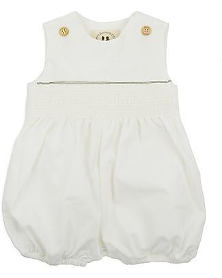 Annaliv Summer Suit, Sleeveless Organic Cotton Romper, White - Wooden gift box! Short Sleeves Bodies