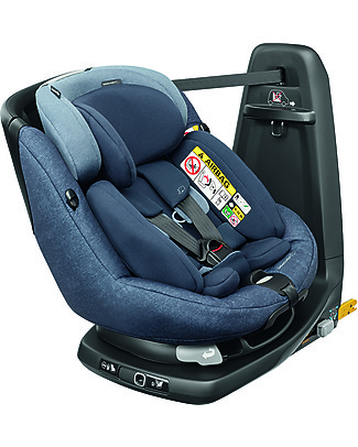 Bébé Confort/Maxi Cosi AssixFix Plus Car Seat, Nomad Blue - From Birth to 4 years, 360° Swiveling Seat Car Seats