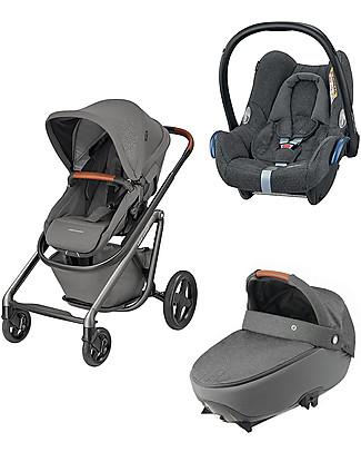 Bébé Confort/Maxi Cosi BBC Trio: Lila Stroller + Jade Carrycot + Cabriofix Car Seat, Sparkling Grey Travel Systems