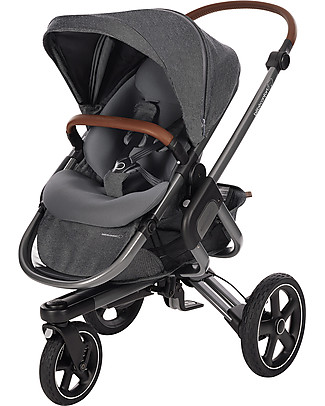 Bébé Confort/Maxi Cosi Modern Trio: Nova Stroller + Jade Carrycot + Pebble Plus Car Seat, Sparkling Grey Travel Systems
