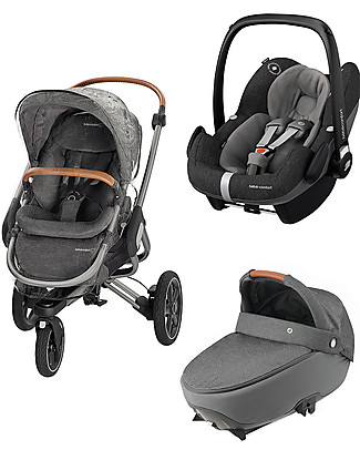 Bébé Confort/Maxi Cosi Modern Trio: Nova Stroller + Jade Carrycot + Pebble Pro Car Seat, Sparkling Grey Travel Systems