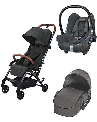 Bébé Confort/Maxi Cosi Urban Trio: Laika2 Stroller + Laika Carrycot + Cabriofix Car Seat, Sparkling Grey Travel Systems