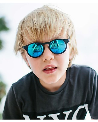 Babiators Blue Collection Sunglasses, The Agent - Black Keyhole/Polarized Dark Blue Lens - 100% UV Protection Sunglasses