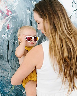 Babiators Blue Collection Sunglasses, The Sweetheart - Wicked White Heart/Polarized Lens - 100% UV Protection Sunglasses