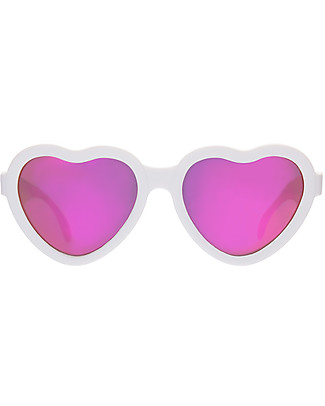 Babiators Blue Collection Sunglasses, The Sweetheart - Wicked White Heart/Polarized Pink Lens - 100% UV Protection	 Sunglasses
