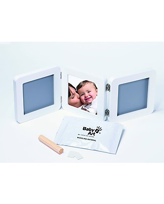 Baby Art Baby Art My baby Touch Rounded Double Frame - White & Grey Baby's First Albums
