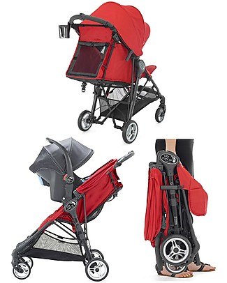 Baby Jogger City Mini™ Zip Baby Stroller - Red - 3D Fold Technology - For All Terrains! Lights Strollers