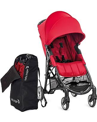 Baby Jogger City Mini™ Zip Baby Stroller - Red + Stroller Bag - 3D Fold Technology - For All Terrains! Lights Strollers