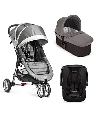 Baby Jogger Travel System Trio City Mini 3 Deluxe, Steel Grey - City Mini 3 + Deluxe Carry Cot + Handrail + City GO + Adapters Travel Systems