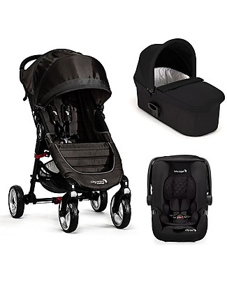 Baby Jogger Travel System Trio City Mini 4 Deluxe, Black - City Mini 4 + Deluxe Carry Cot + Handrail + Citi GO + Adapters Travel Systems