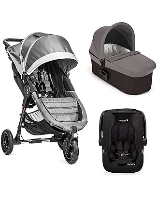 Baby Jogger Travel System Trio City Mini GT Deluxe, Grey - City Mini GT + Deluxe Carry Cot + Handrail + City GO + Adapters Travel Systems