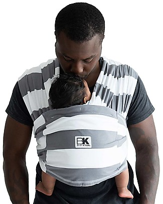 Baby K'tan Ergonomic Baby Carrier 5 in 1, Charcoal/White Stripe - 100% cotton - Easy to wear, slips on like a t-shirt! Baby Slings