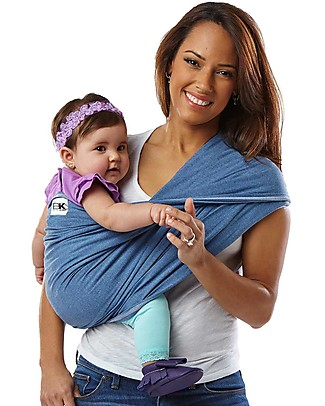 Baby K'tan Ergonomic Baby Carrier 5 in 1, Denim - 100% cotton - Easy to wear, slips on like a t-shirt! Baby Slings