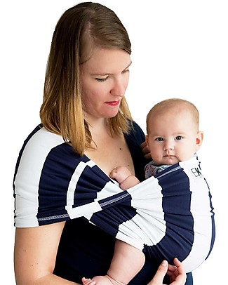 Baby K'tan Ergonomic Baby Carrier 5 in 1, Navy/White Stripe - 100% cotton - Easy to wear, slips on like a t-shirt! Baby Carriers