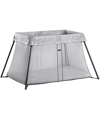 BabyBjörn Travel Crib Light, Grey + Carry Bag - Portable! Travel Cots