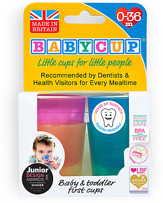 Babycup Babycup First Cup 0-36 months Set of 4 pieces Multicolored - Approved by Dentists and Health Professionals Cups & Beakers
