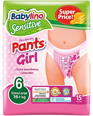 Babylino Baby Trainer Pants Sensitive  - Girl (5 or 6 years)- The Only Nappy Certified Oeko-Tex Standard 100  Biodegradable Nappies