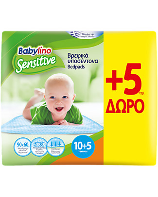 Babylino Sensitive Babybedpads 90x60 10 + 5 Pcs - Maximum Absorbency - Oeko-Tex Standard 100 Certified! Kit Toilette Baby