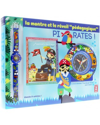 BabyWatch Set Pirates: Learning Alarm Clock for Children (silent movement) + Zip Learning Watch Alarm Clocks