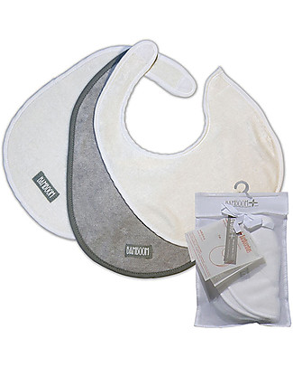 Bamboom 3-piece Bamboo Bib Set, Grey/White Snap Bibs