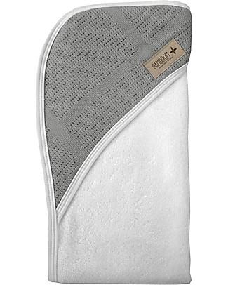 Bamboom Bagno Duo New Vintage, Bathcape + Washcloth, White&Grey - Organic bamboo fiber null