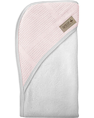 Bamboom Bagno Duo New Vintage, Bathcape + Washcloth, White&Pink - Organic bamboo fiber Towels And Flannels