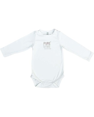 Bamboom Long Sleeves Bodysuit, White - Elasticated organic bamboo Short Sleeves Bodies