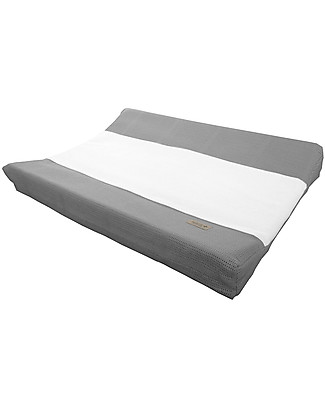Bamboom New Vintage Changing Mat Cover, Bamboo Fibre, Grey & White - 50 x 80 cm Changing Mats And Covers