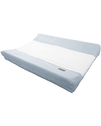 Bamboom New Vintage Changing Mat Cover, Bamboo Fibre, Light Blue & White - 50 x 80 cm Changing Mats And Covers
