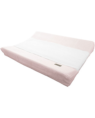 Bamboom New Vintage Changing Mat Cover, Bamboo Fibre, Pink & White - 50 x 80 cm Changing Mats And Covers