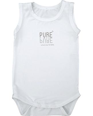 Bamboom Sleeveless Bodysuit 6-24 months, White - Elasticated organic bamboo Short Sleeves Bodies