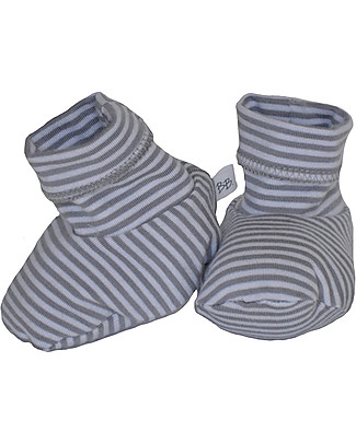 Bamboom Stripe White/Grey Booties - Bamboo and Cotton Slippers