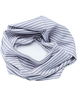 Bamboom Stripe White/Grey Scarf - Bamboo and Cotton Scarves And Shawls