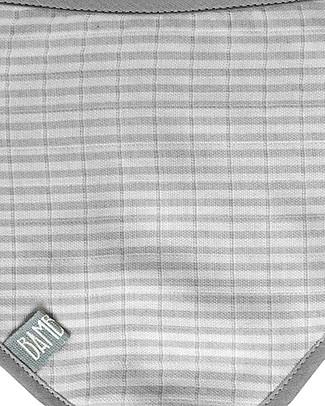 Bamboom Triangle Bib, Grey Stripes - Cotton muslin Bandana Bibs