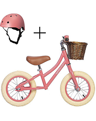 Banwood Balance Bike First Go with Helmet, Coral - From 3 to 5 years old!  Balance Bikes