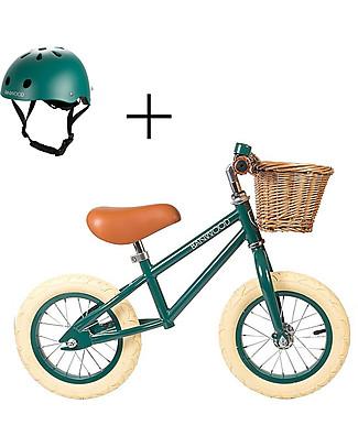 Banwood Balance Bike First Go with Helmet, Dark Green - From 3 to 5 years! Balance Bikes