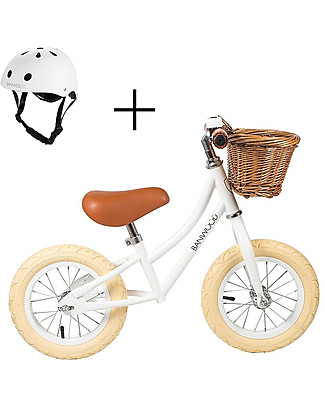 Banwood Balance Bike First Go with Helmet, White - From 3 to 5 years! Balance Bikes