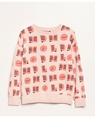 Barn of Monkeys London Long Sleeve Basic Sweatshirt, Coral - 100% cotone bio Sweatshirts