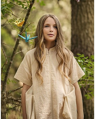 Barn of Monkeys Origami Tunic with Zip, Yellow - 100% organic cotton Shirts And Blouses