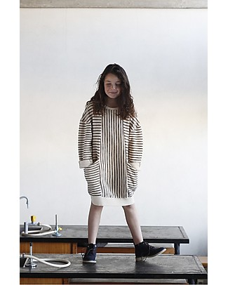 Barn of Monkeys Striped Long Sleeves Sweat Dress with Pockets and V-neck Detail, Neutral - Cotton Dresses