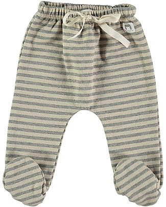Bean's Barcelona Chatel Footed Sweat Pants, Stone Stripes - 100% organic cotton Trousers