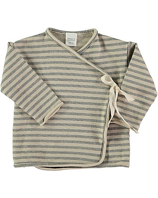 Bean's Barcelona Copper Long Sleeves Striped Sweat T-shirt with Ribbon, Stone - 100% organic cotton Long Sleeves Tops