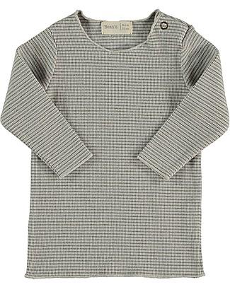 Bean's Barcelona Lake Striped Rib T-shirt, Ice - Organic cotton Long Sleeves Tops